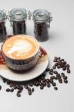 kaffeuppsättning för menybakgrund Arkivfoton