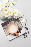 kaffeuppsättning för menybakgrund Royaltyfri Fotografi