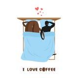 Kaffevänner Kaffebönor och man Vänner i bästa sikt för säng smo Royaltyfria Bilder