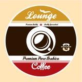 Kaffevardagsrumetikett Arkivbild