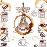 Kaffevektorbakgrund med den hand dragit Eiffeltorn och kaffe royaltyfri illustrationer