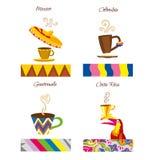Kaffevektorlogo Kaféemblem Kaffe av världsetikettillustrationerna stock illustrationer