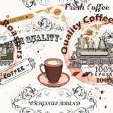 Kaffevektormodell i tappningstil med etiketter, krusidullar royaltyfri illustrationer