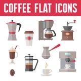 Kaffevektorsymboler i plan designstil Royaltyfri Fotografi