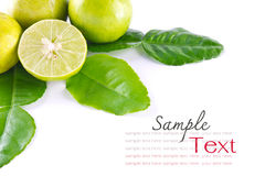 Kaffir leaves and lime. On white background Royalty Free Stock Photo