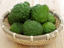 Kaffir lime. In a food basket Royalty Free Stock Photo