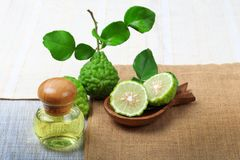Bergamot with aromatic spa of bottles essential oil. Kaffir lime or bergamot with aromatic spa of bottles essential oil on sack background royalty free stock photo