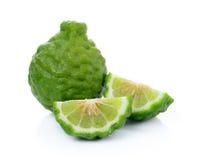 Kaffir Lime or Bergamot fruit. On white background stock photography