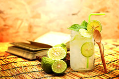 Kaffir lime, Bergamot soda Cool drink, Herb for Treatment of Acid Reflux. Royalty Free Stock Photos