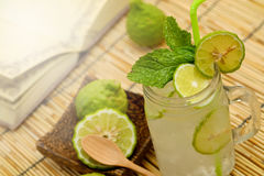 Kaffir lime, Bergamot soda Cool drink, Herb for Treatment of Acid Reflux. Royalty Free Stock Image