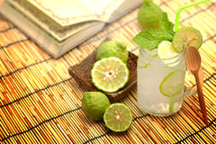 Kaffir lime, Bergamot soda Cool drink, Herb for Treatment of Acid Reflux. Stock Photo