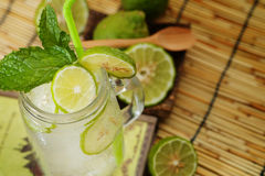 Kaffir lime So, Bergamot soda Cool drink, Thailand tradition Herb for Treatment of Acid Reflux, with Oriental Earth tone map backg. Round. Have some space for stock photo