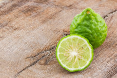 Kaffir Lime (Bergamot). Kaffir Lime (Bergamot) on wood background royalty free stock images