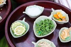 Kaffir lime, curcuma, zingiber, camphor, pandanus Stock Photos