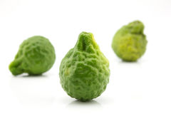 Kaffir lime isolate on white background. Three kaffir lime isolate on white background Stock Photography