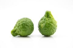 Kaffir lime isolate on white background. Two kaffir lime isolate on white background stock photo