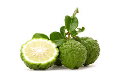 Kaffir lime. Isolated on white background Stock Image