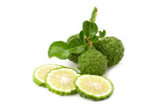 Kaffir lime. Isolated on white background royalty free stock images