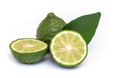 Kaffir lime with leaf. Royalty Free Stock Photo