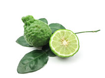 Kaffir Lime with leaves. On white background royalty free stock photos