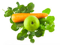 Kaffir lime leaves carrot and green apple isolated Stock Photo