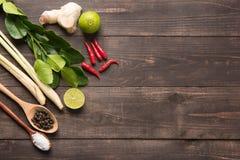Kaffir lime leaves, Ginger, lemon, Pepper, Salt,  Red chilli and Royalty Free Stock Photos