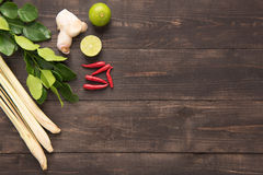 Kaffir lime leaves, Ginger, lemon, Red chilli and Green onions o Stock Photos