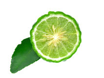 Kaffir lime with leaves isolated on white background Stock Photography