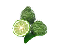 Kaffir lime with leaves isolated on white background Stock Images
