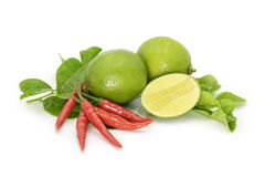 Kaffir Lime Leaves, limes and red Thai chilly on white background. Herb and spicy ingredients for making Thai food Royalty Free Stock Images