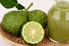 Kaffir lime, Leech lime, Mauritius papeda, fruits, juice. Royalty Free Stock Photo