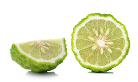 Kaffir lime slice isolated on white background Stock Images