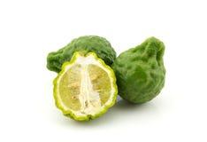 Kaffir lime slice on white background Royalty Free Stock Photography