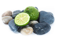 Kaffir Lime on Zen Stone, health and spa concept Stock Images