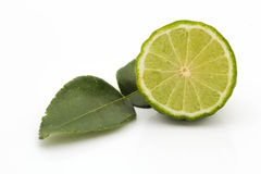 Kaffir Limes with leaf Royalty Free Stock Photo
