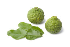 Kaffir limes and leaves Royalty Free Stock Image