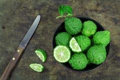Kaffirlimefrukt och kaffirlimefruktblad fotografering för bildbyråer