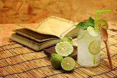 Kaffirlimefrukt så, kall drink för Bergamotsodavatten, Thailand traditionsört för behandling av syrligt lågvatten, med orientalis royaltyfria foton