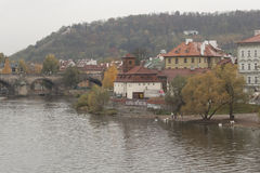Kafka Museum on the banks of the Vltava river in Prague Stock Images