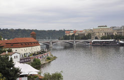Kafka Museum and Prague Panorama over Vltava river in Czech Republic Stock Image