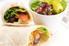 Kafta shawarma chicken pita wrap roll sandwich. Traditional arab mid east food Stock Photo