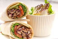 Kafta shawarma chicken pita wrap roll sandwich Stock Images