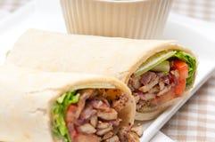 Kafta shawarma chicken pita wrap roll sandwich. Traditional arab mid east food Stock Photos
