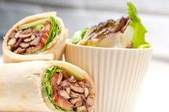 Kafta shawarma chicken pita wrap roll sandwich. Traditional arab mid east food Royalty Free Stock Images