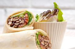 Kafta shawarma chicken pita wrap roll sandwich. Traditional arab mid east food Royalty Free Stock Image