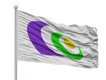 Kaga City Flag On Flagpole, Japão, prefeitura de Ishikawa, isolada no fundo branco Ilustração Royalty Free