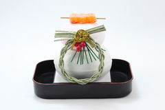 Kagamimochi. In Japan, New Year, the clots doubled-over Kagamimochi to what is called, there is a custom decorating Stock Photo
