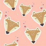 Kaganiec lisy, dekoracyjny śliczny tło Kolorowy bezszwowy wzór z kaganami zwierzęta, serca ilustracja wektor