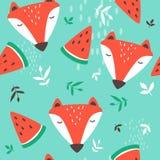 Kaganiec lisy, dekoracyjny ?liczny t?o Kolorowy bezszwowy wzór z kaganami zwierzęta, arbuzy, liście ilustracji