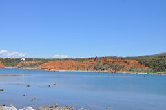 Kageles strand i Maronia, Grekland Arkivfoton